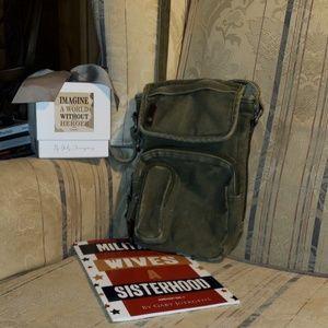 Vintage H&M brand Olive Drab fabric crossbody bag